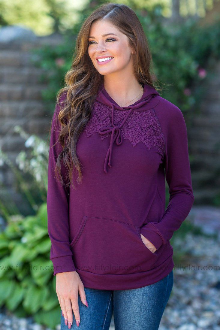 Stay With Me Long Sleeve Lace Hoodie in Deep Burgundy - Filly Flair