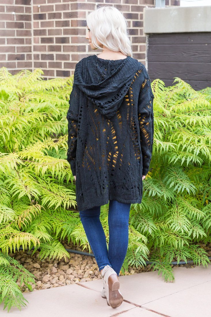 Going Down Tonight Hooded Pocket Cardigan In Black - Filly Flair