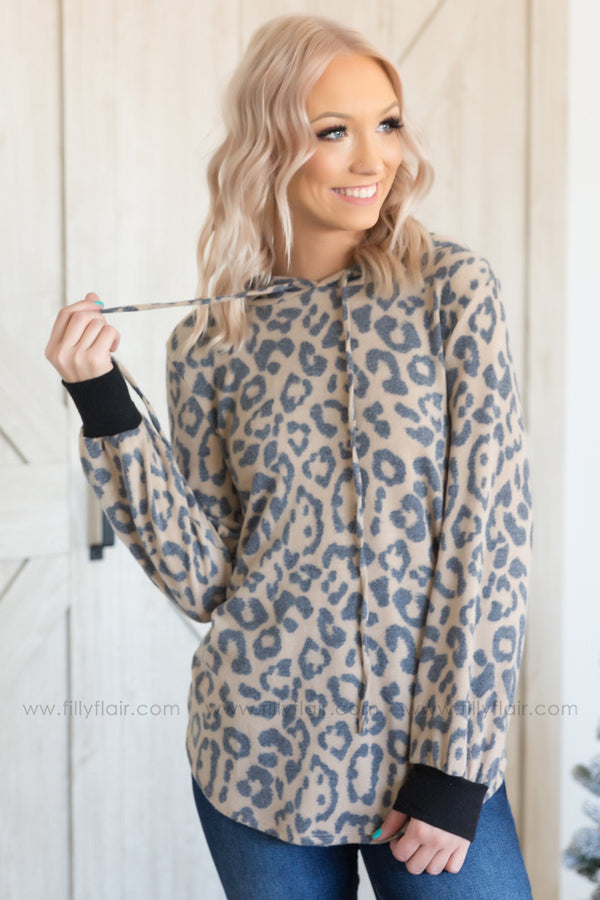 On The Run Long Sleeve Animal Print Hooded Top in Mocha - Filly Flair