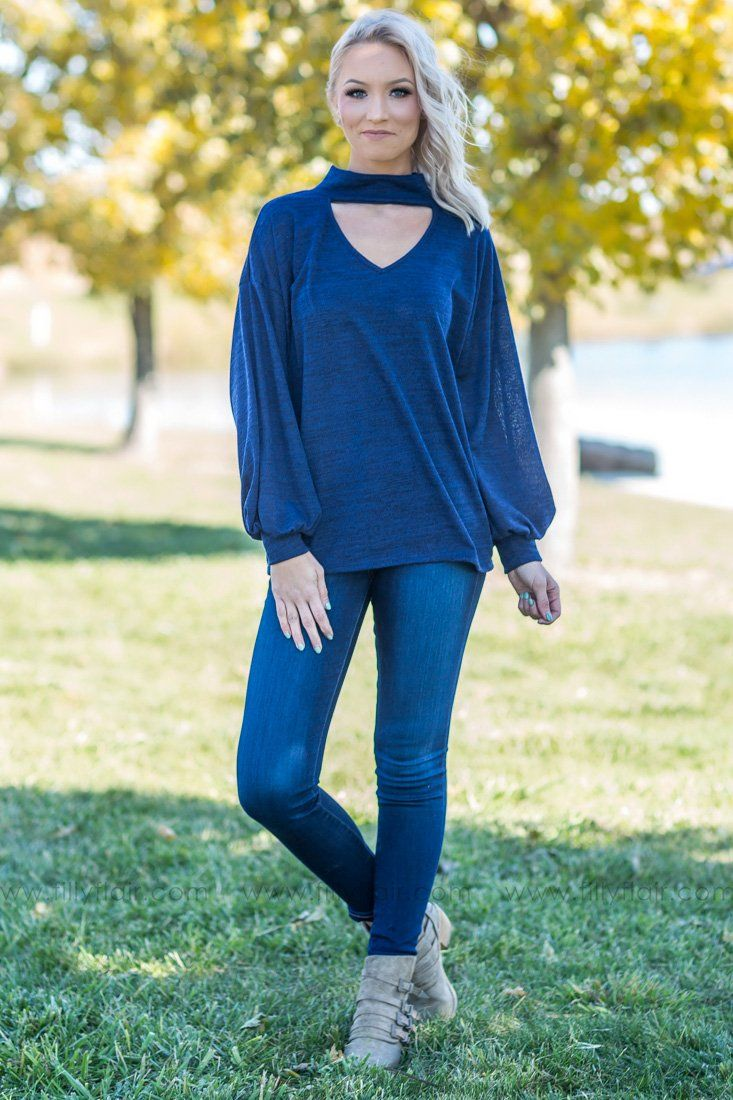 I Knew I Had You Long Sleeve Puff Sleeve Top in Navy - Filly Flair