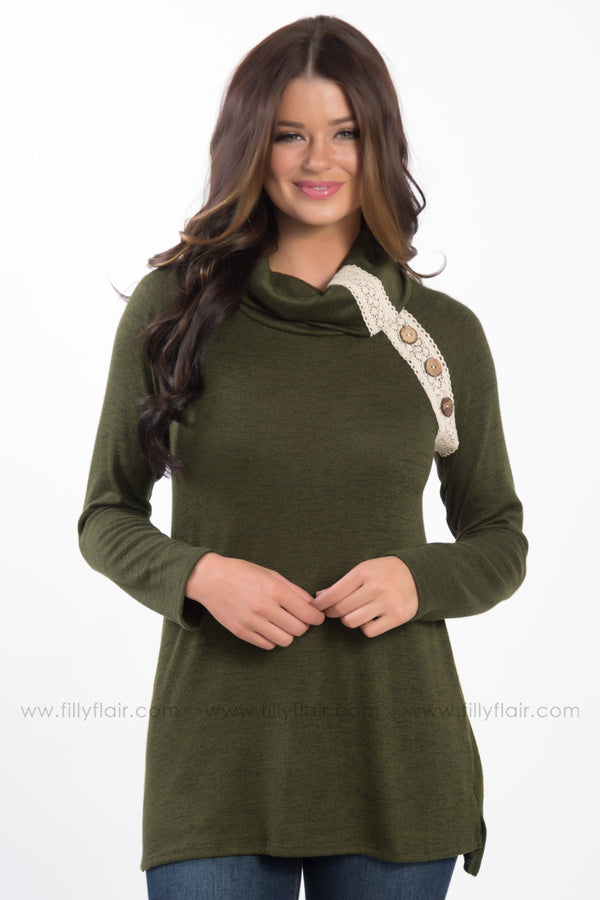 *My Pretty One Lace Button Detail Cowl Neck Tunic In Olive* - Filly Flair