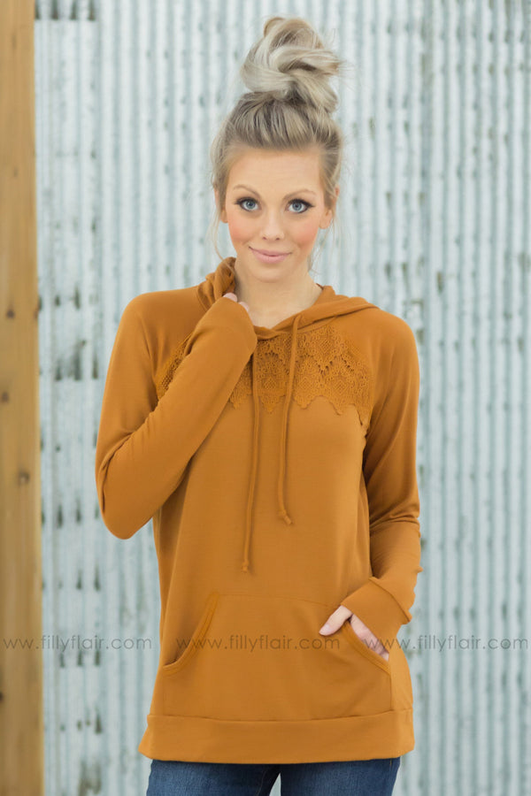 Stay With Me Long Sleeve Lace Hooded Top in Camel - Filly Flair