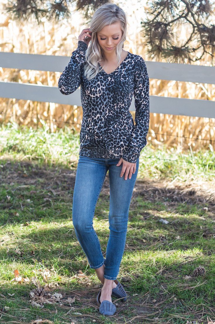 Animal Instincts Leopard Sweater In Grey Black* - Filly Flair