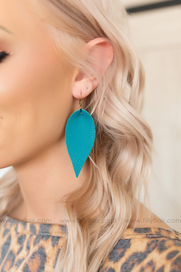 Dark Teal Leather Petal Earrings