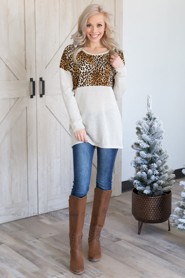 Take Me There Long Sleeve Animal Print Top in Ivory - Filly Flair