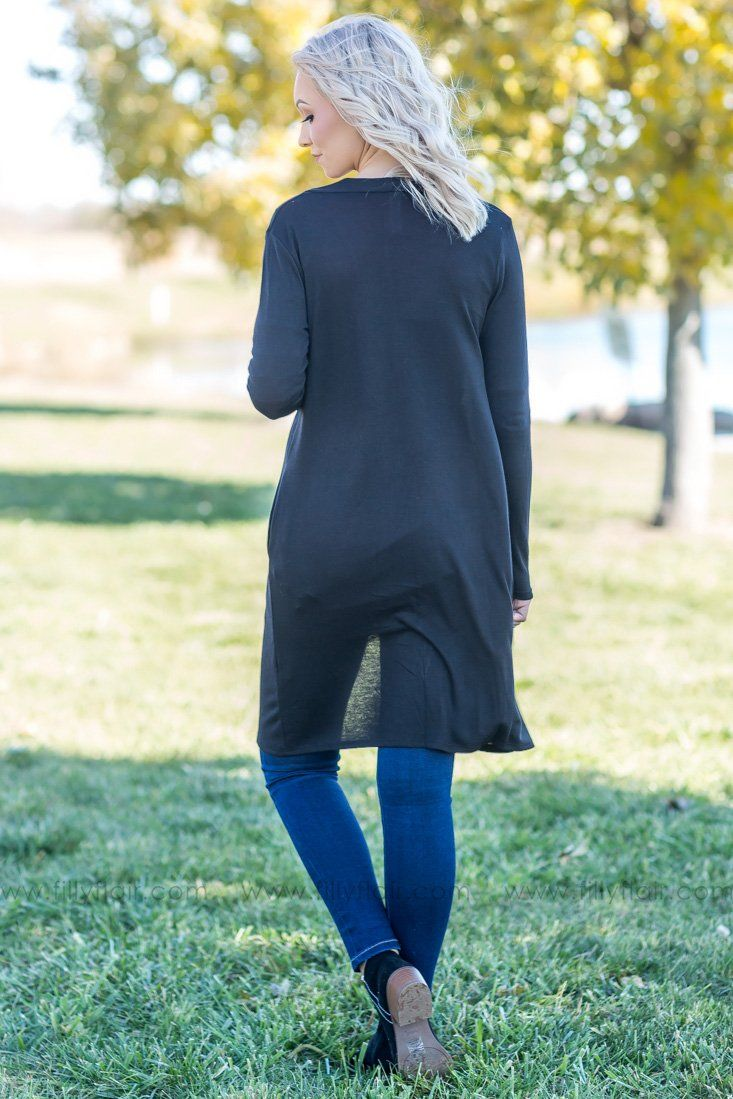 Simply Mine Long Cardigan in Black - Filly Flair
