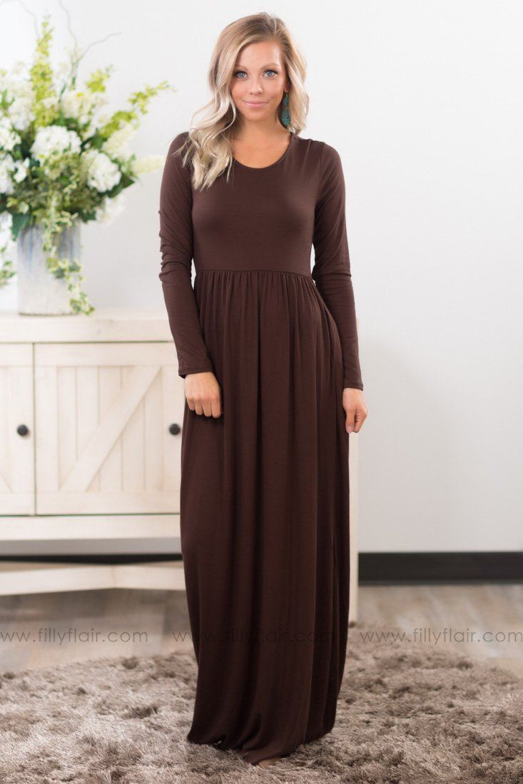 In Color Long Sleeve Maxi Dress In Brown - Filly Flair