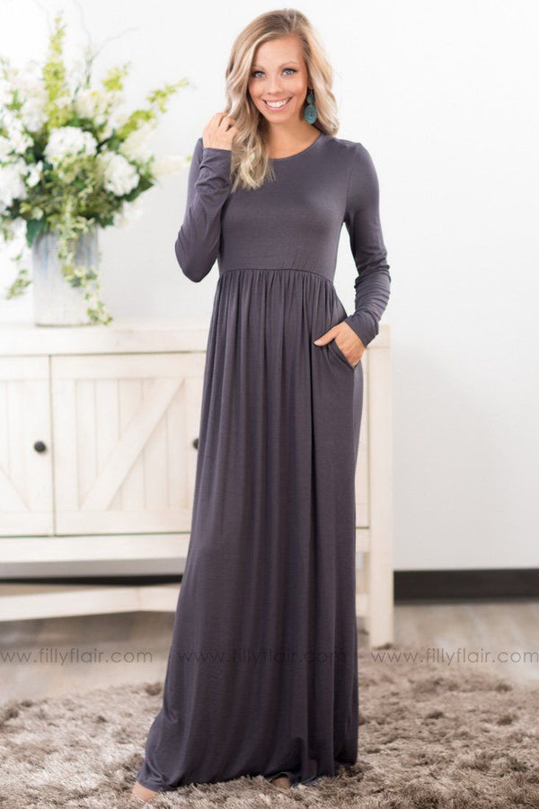 In Color Long Sleeve Maxi Dress In Grey* - Filly Flair