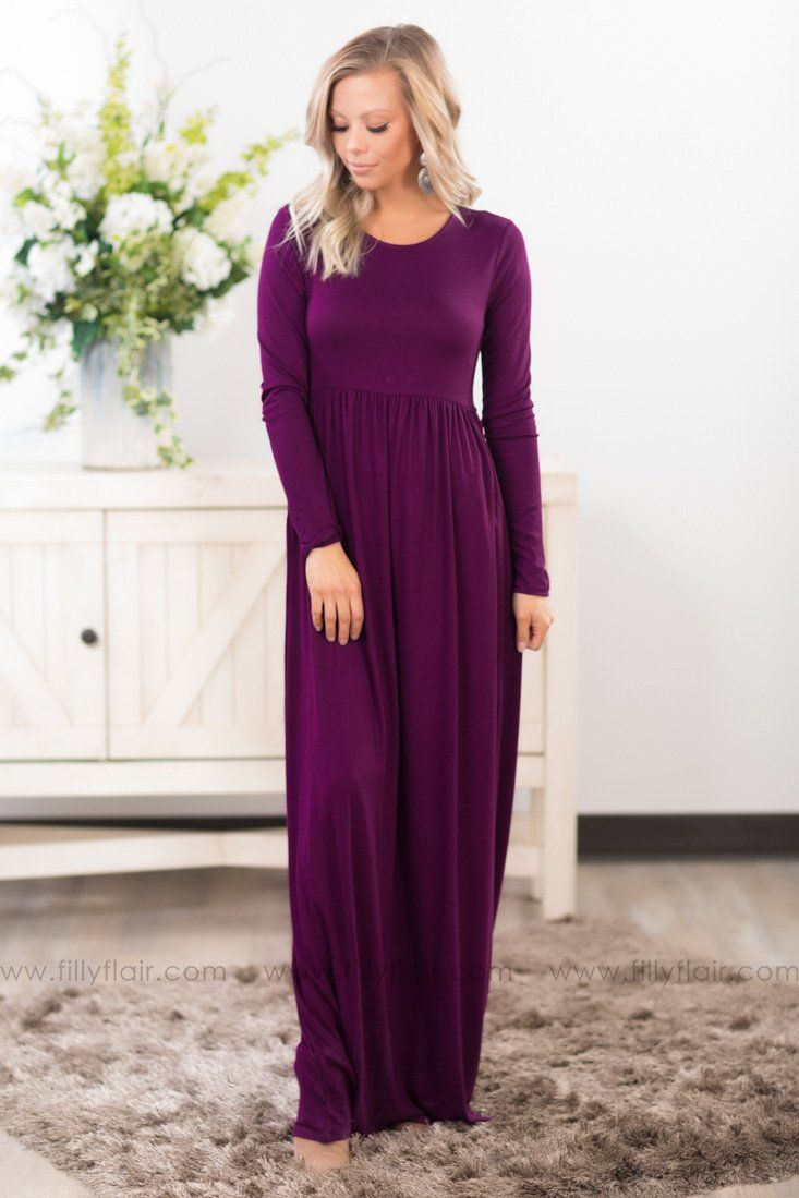 In Color Long Sleeve Maxi Dress In Purple - Filly Flair