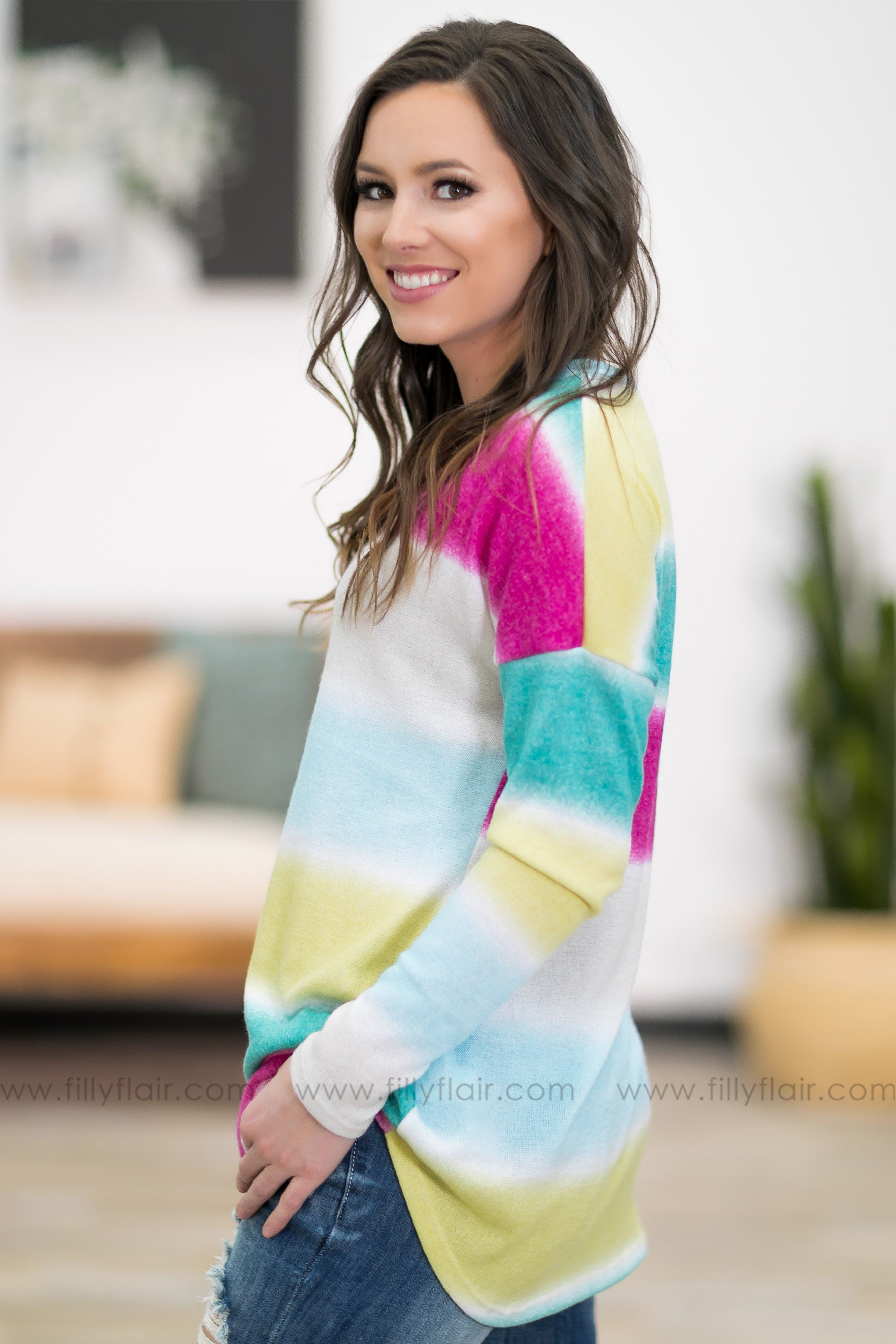 Oh My Love Long Sleeve Multi Color Striped Top - Filly Flair