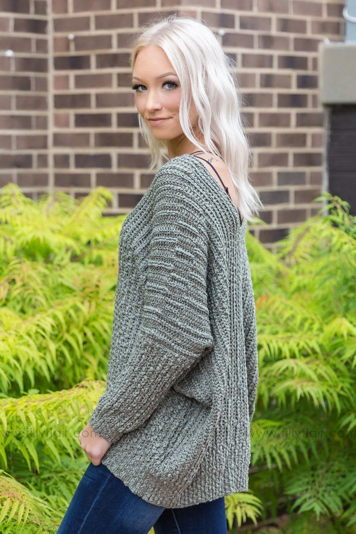 Next To You Oversized Sweater in Olive - Filly Flair