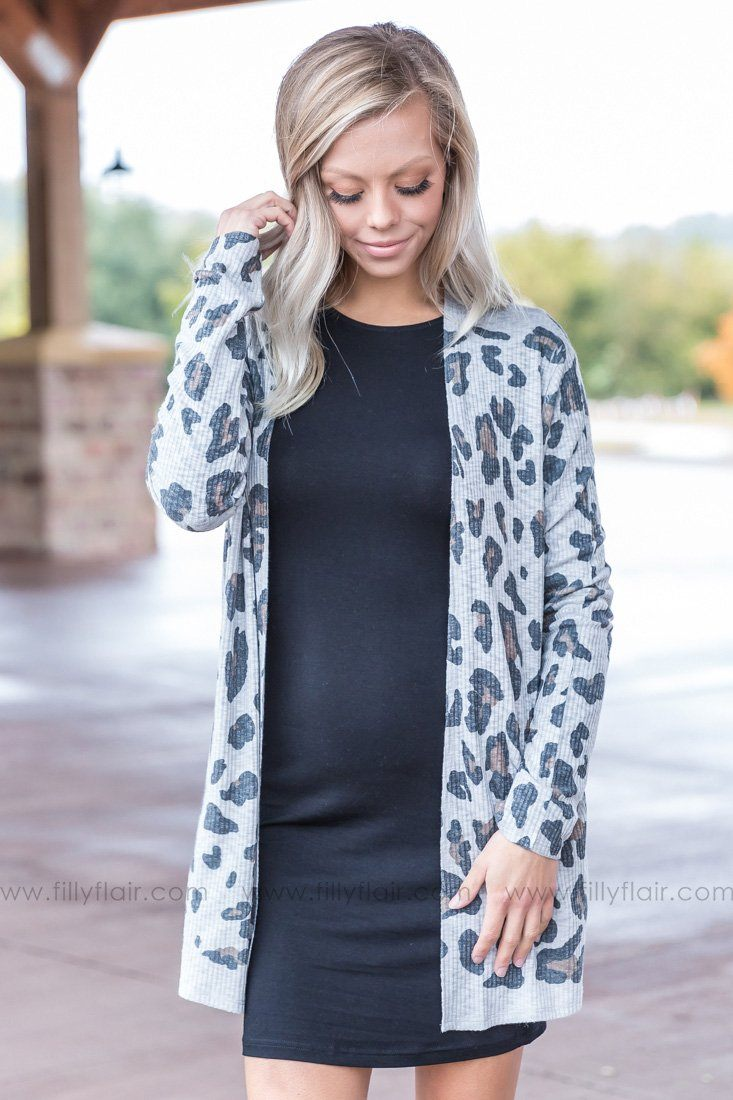Wild At Heart Leopard Print Cardigan in Grey - Filly Flair