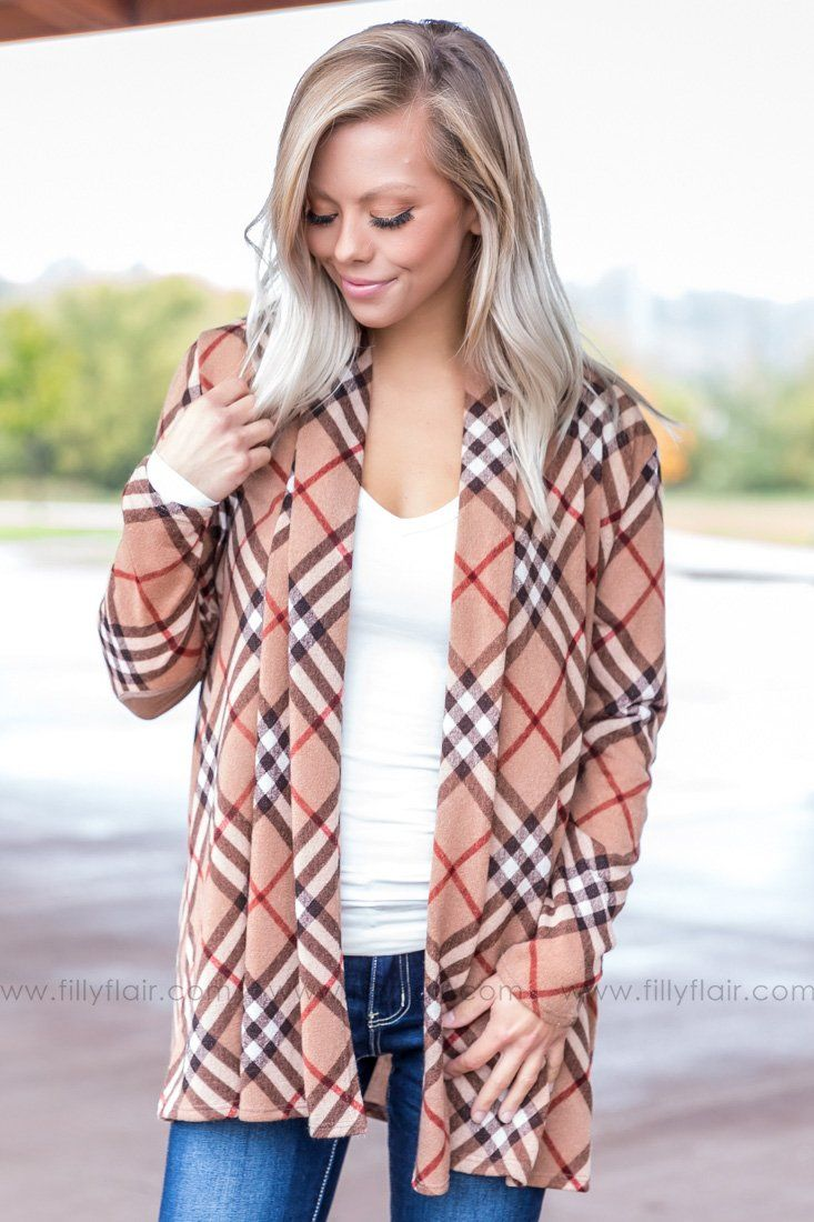 Classic in Plaid Cardigan With Elbow Patches - Filly Flair