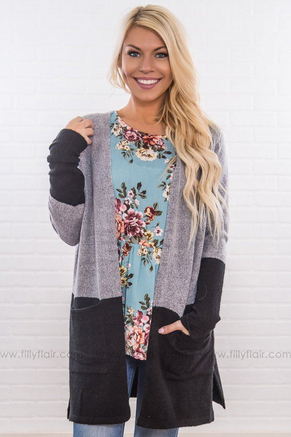 A Place Called Home Color Block Pocket Cardigan In Black Grey