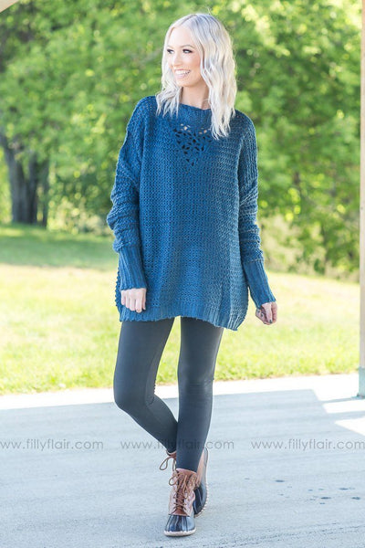 Thought of You Teal Oversized Sweater - Filly Flair