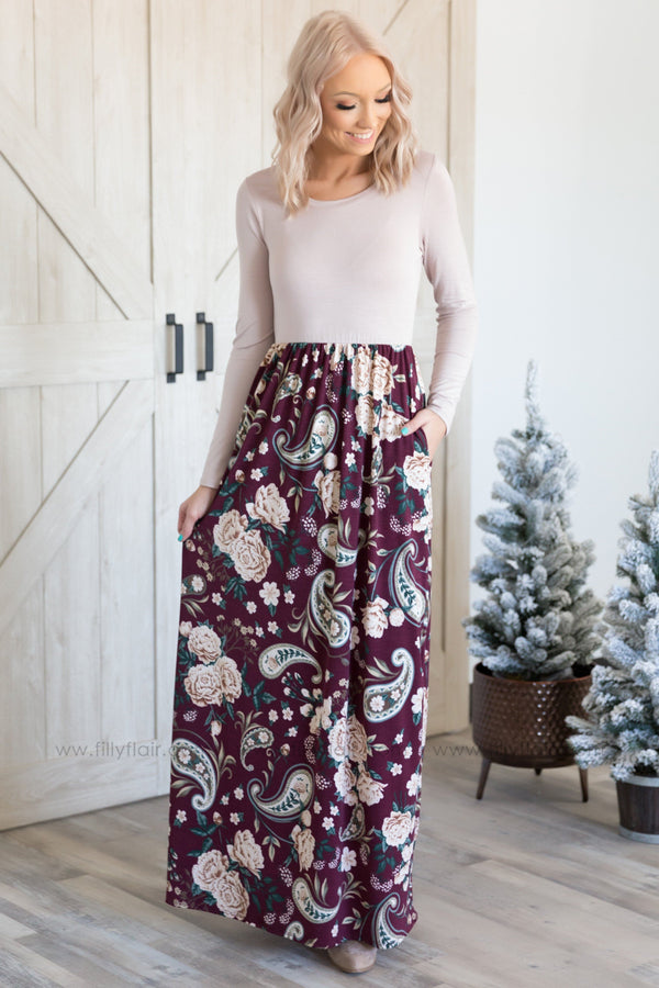 Pretty as Ever Long Sleeve Floral Paisley Maxi Dress in Burgundy - Filly Flair