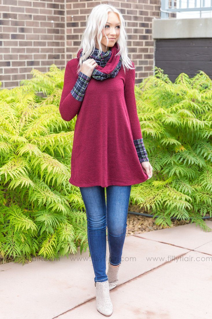 Some Kind of Way Long Sleeve Plaid Tunic Dress in Red - Filly Flair