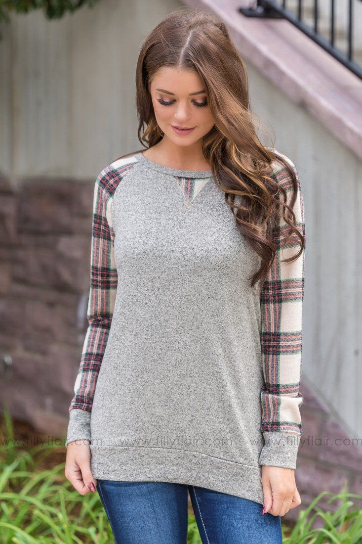 Lean This Way Grey Sweater with Green Plaid - Filly Flair