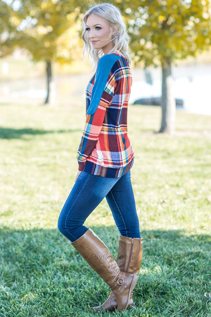 Harvest Hues Multi-Colored Plaid Long Sleeve Top - Filly Flair