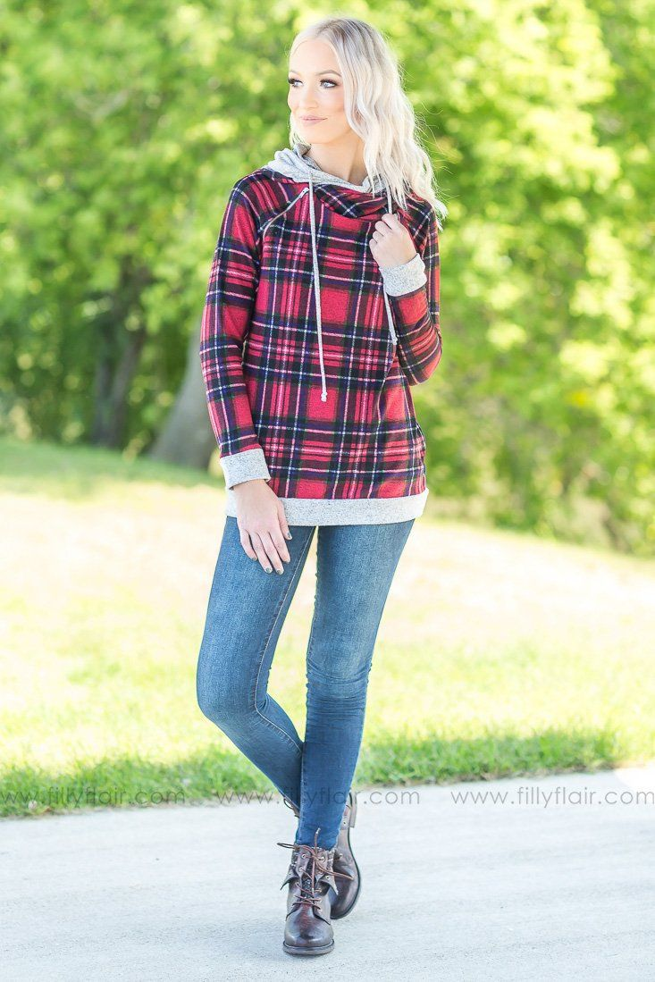Plaid Wonder Double Hoodie in Red - Filly Flair