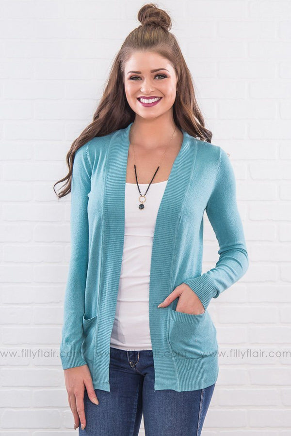 Broken Anchor Pocket Cardigan In Spring Teal