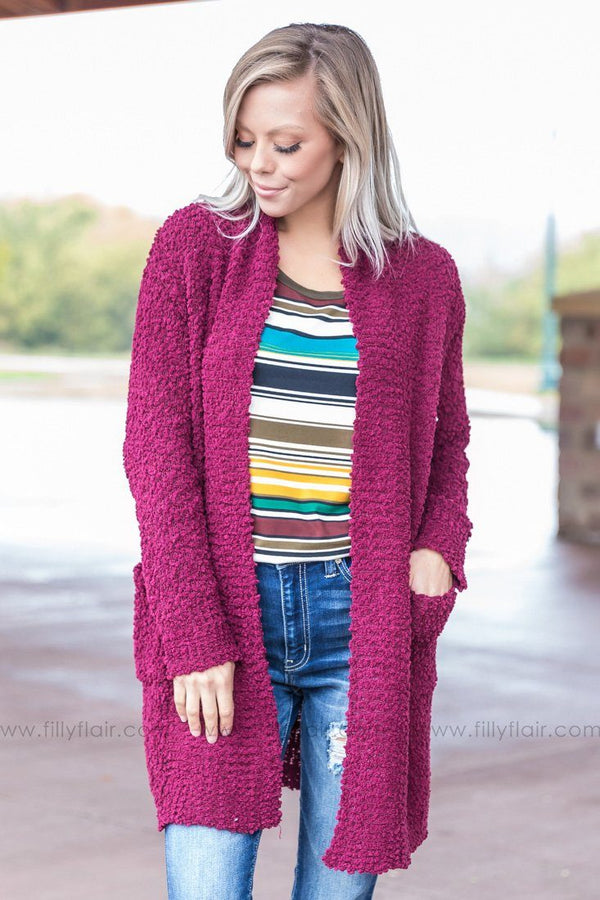 Didn't Get Far Popcorn Knit Open Cardigan In Burgundy - Filly Flair