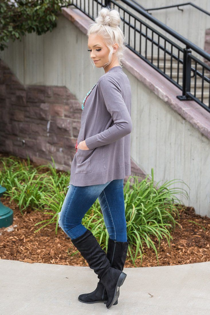 Always With You Open Short Cardigan With Pockets In Grey - Filly Flair