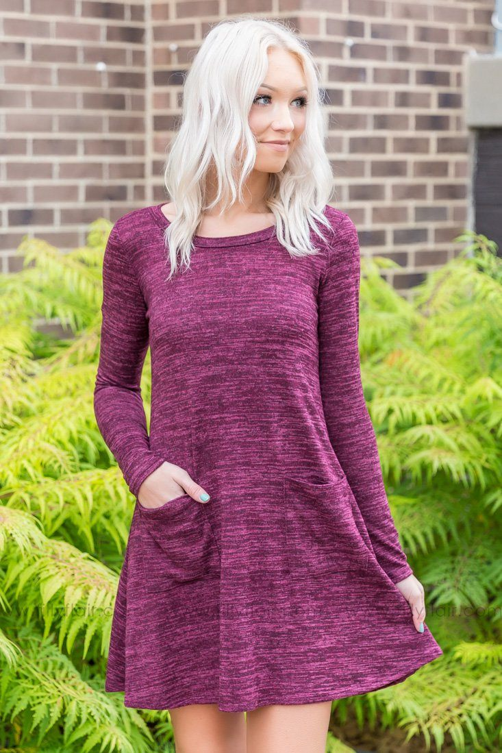 Just Like That Short Pocket Dress In Faded Plum - Filly Flair