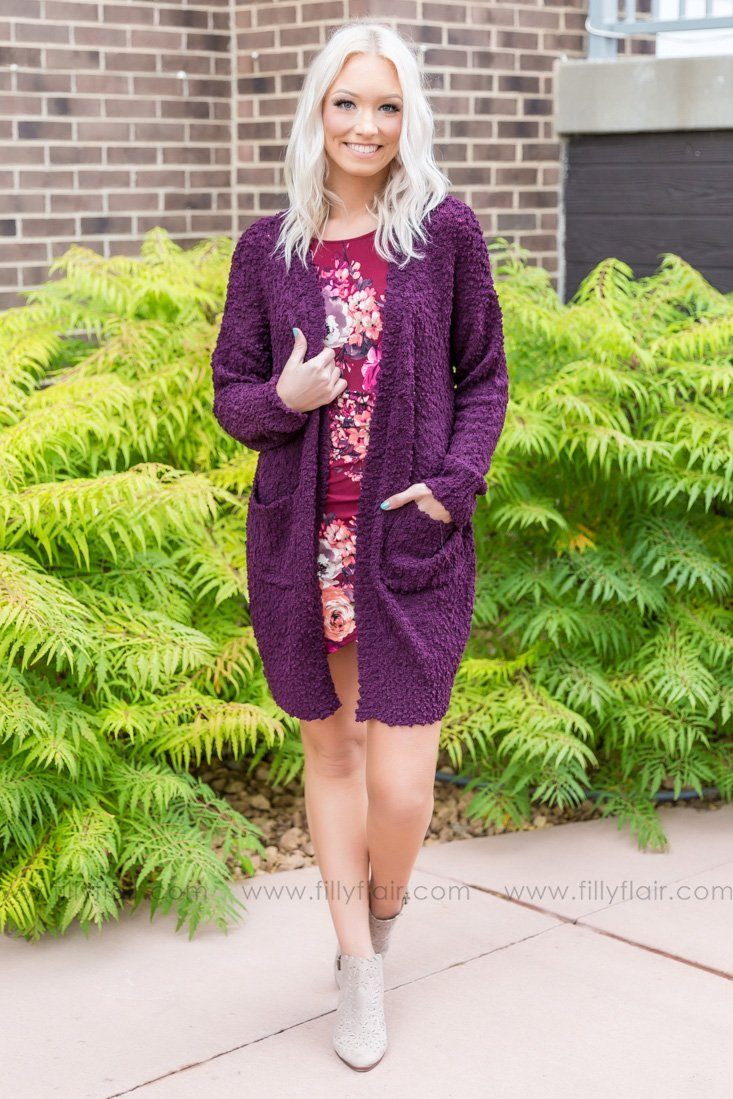 Getting Cozy With You Popcorn Cardigan In Dark Plum - Filly Flair