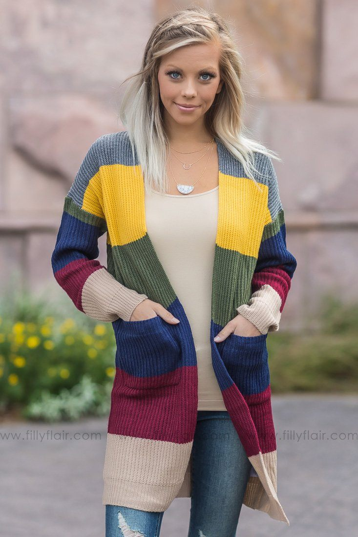 Like The Way I Do Striped Long Sweater Cardigan - Filly Flair