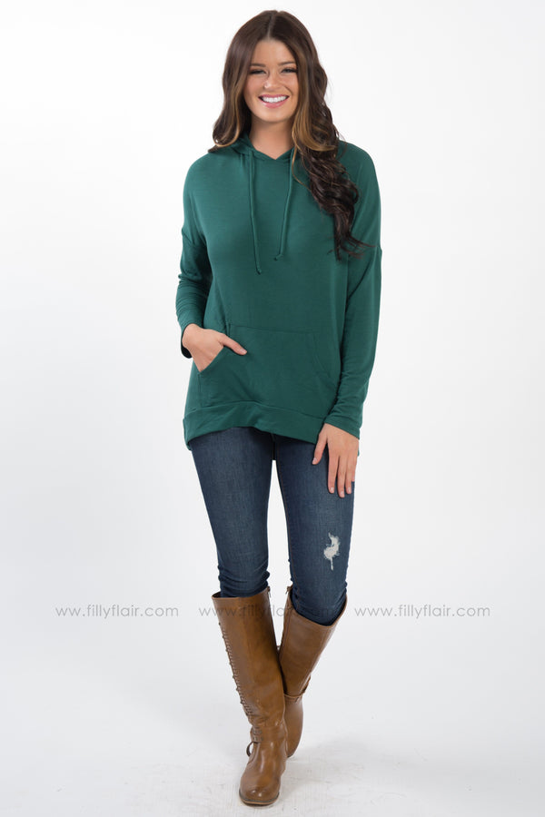 A Matter of Time Long Sleeve Hooded Top in Hunter Green - Filly Flair