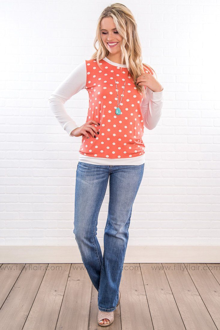 Kiss Her Goodbye Polka Dot Long Sleeve Top In Coral