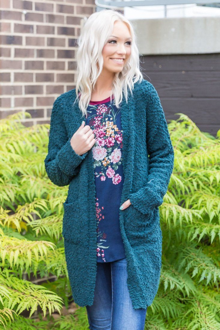Getting Cozy With You Popcorn Cardigan In Hunter Green - Filly Flair