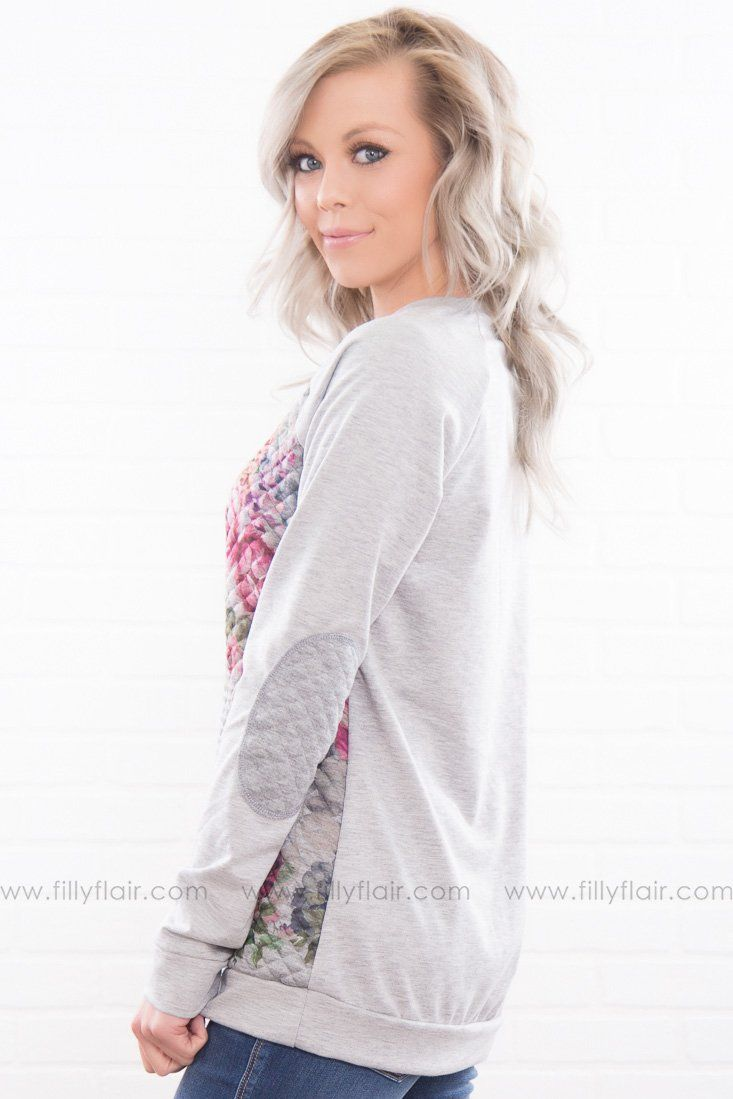 Eager To Please Quilted Floral Elbow Patch Top In Grey