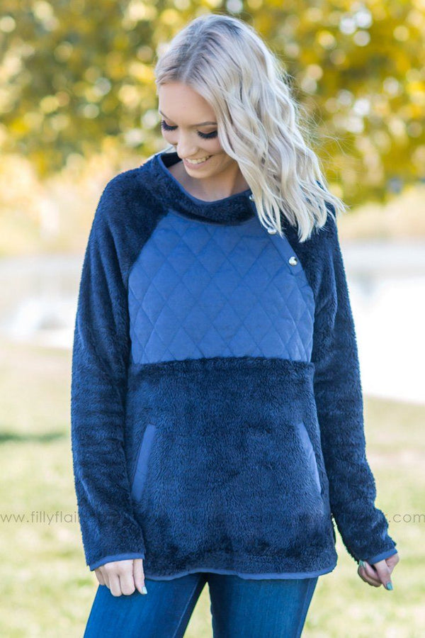 Falling Memories Quilted Fleece Pullover In Navy - Filly Flair