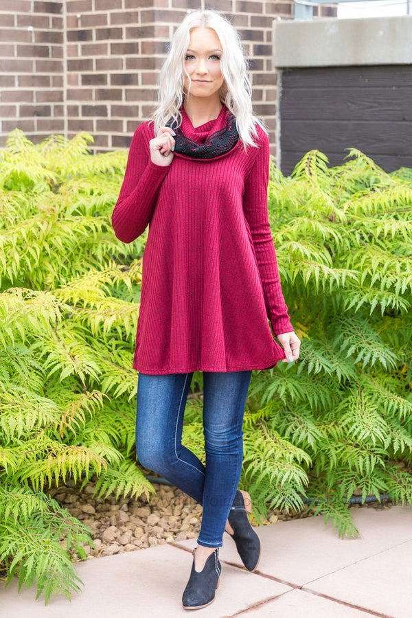 *082118 Walk of Life Crimson Cowl Neck Tunic with Crochet Detail - Filly Flair