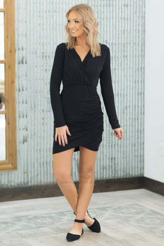 Power of Love Long Sleeve Dress in Black