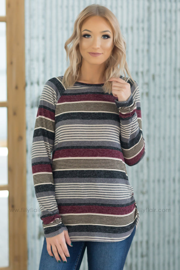 Take The Long Road Long Sleeve Striped Ruched Side Top In Burgundy Grey - Filly Flair