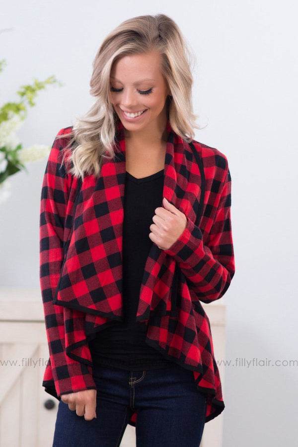 Ruffled For Years Buffalo Plaid Cardigan In Red Black - Filly Flair
