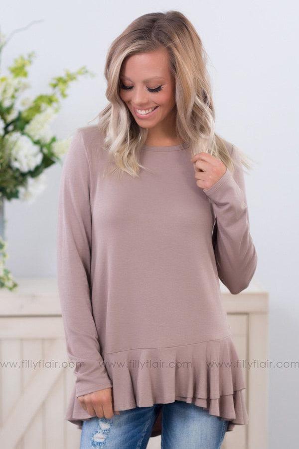 Time To Start Long Sleeve With Ruffle Bottom in Mocha - Filly Flair