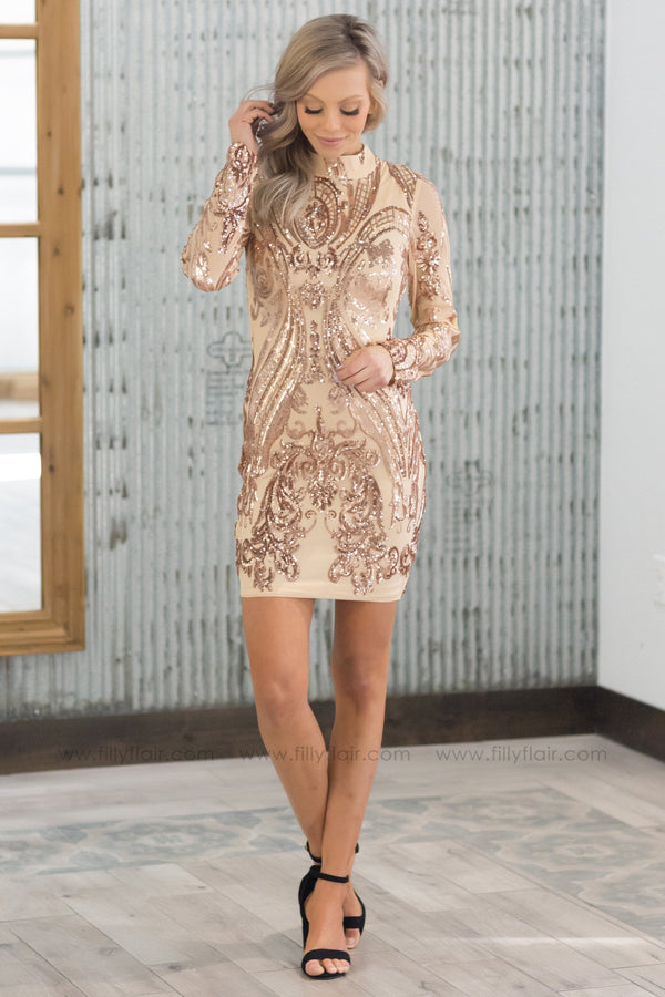 Shine On Long Sleeve Sequin Body Con Dress in Rose Gold - Filly Flair