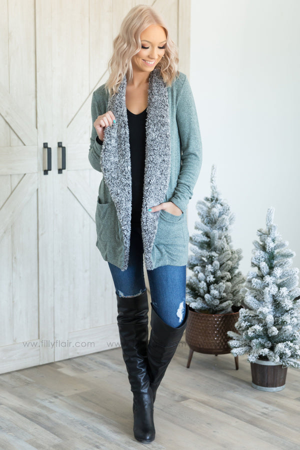 Pre-Order Everyday Love Long Sleeve Fur Trim Cardigan in Heather Sage*Ships apx 12.18 - Filly Flair