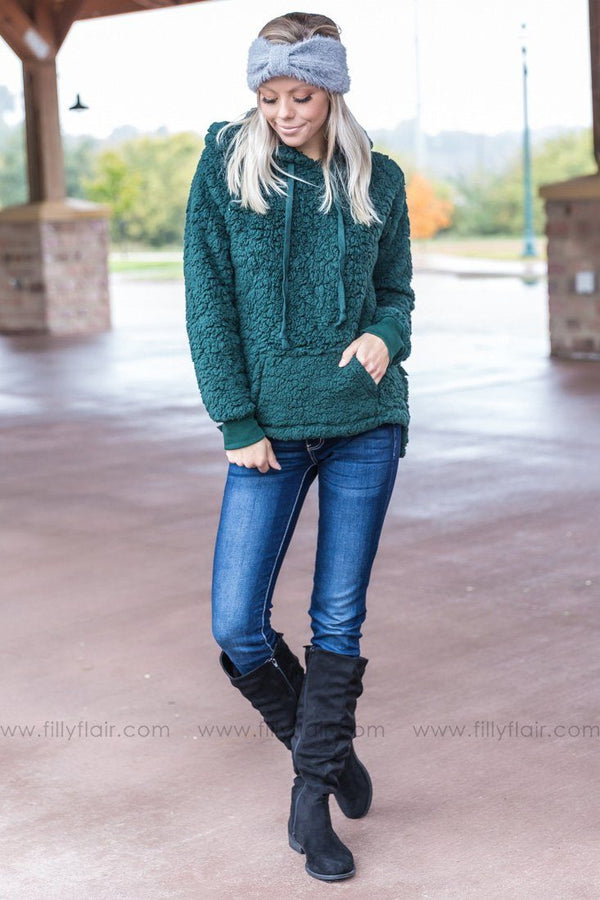 *Forever Fleece Hoodie in Hunter Green* - Filly Flair