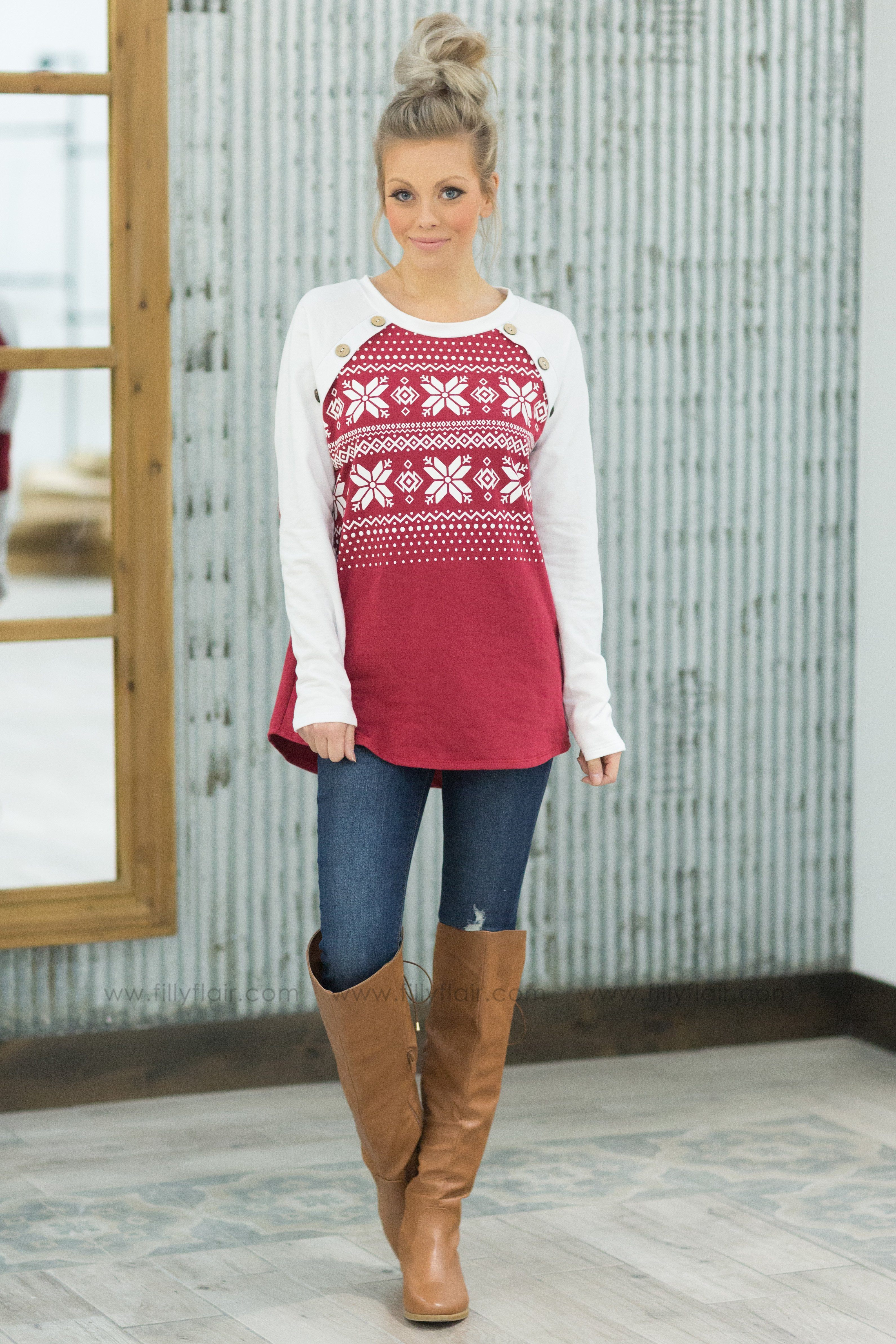 Pre-Order*In the Air Snowflake Button Detail Long Sleeve Top in Red*Ships Apx. 12.17 - Filly Flair