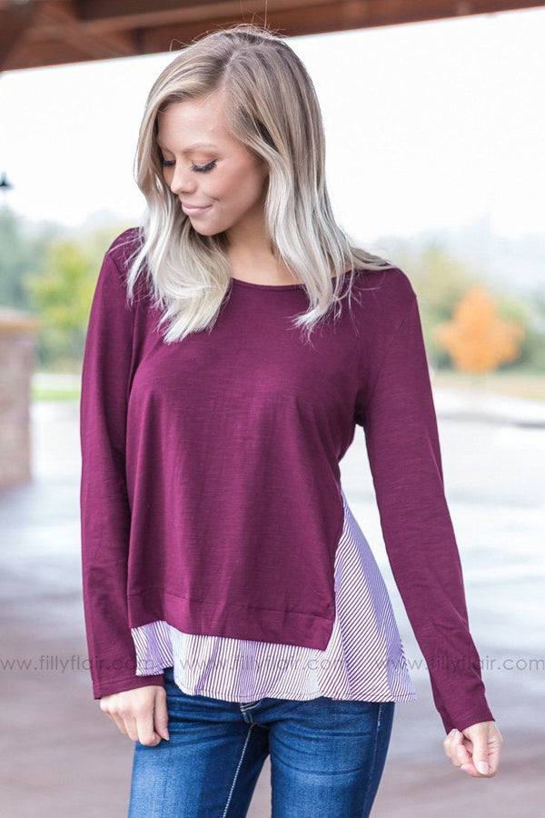 *100518 Long Sleeve Striped Ruffle Top in Burgundy - Filly Flair