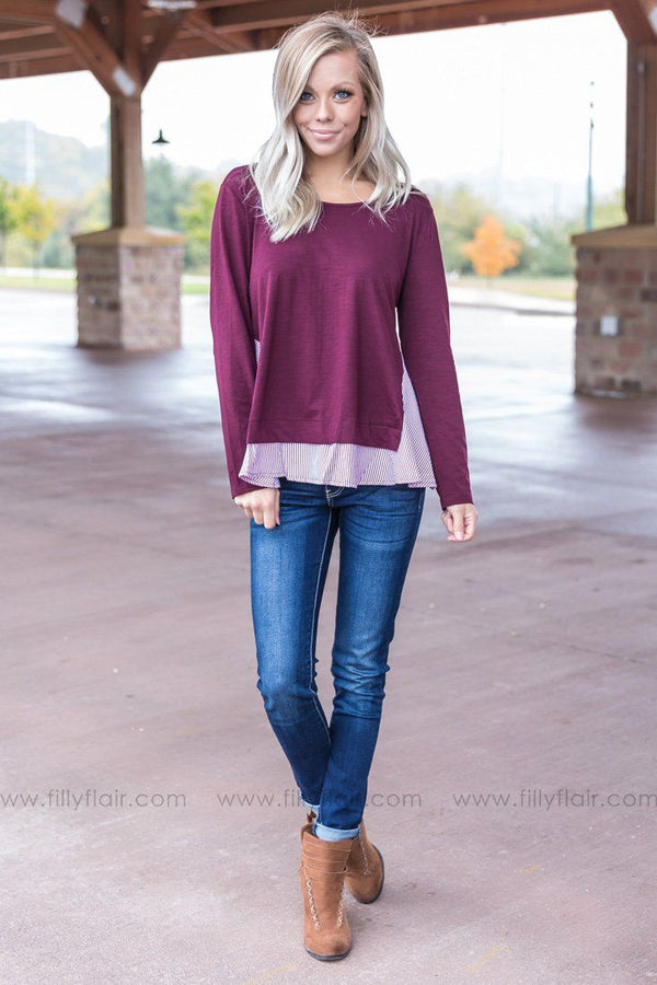 Let You Love Me Striped Ruffle Top in Burgundy - Filly Flair
