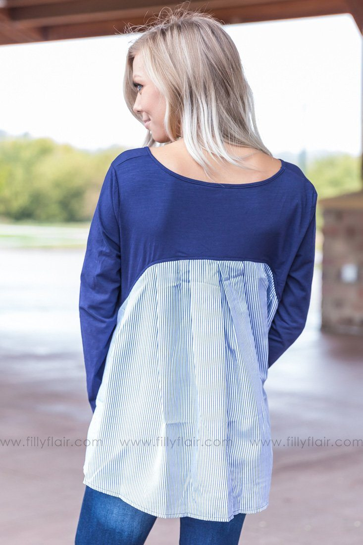 Let You Love Me Striped Ruffle Top in Navy - Filly Flair