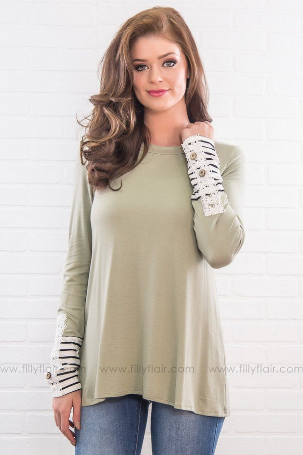 Day Dreamer Striped Lace Cuff Top In Sage