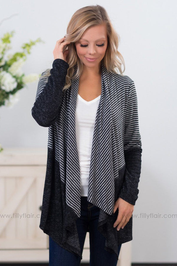 *Lost In The Way You Move Waterfall Cardigan in Black Grey* - Filly Flair