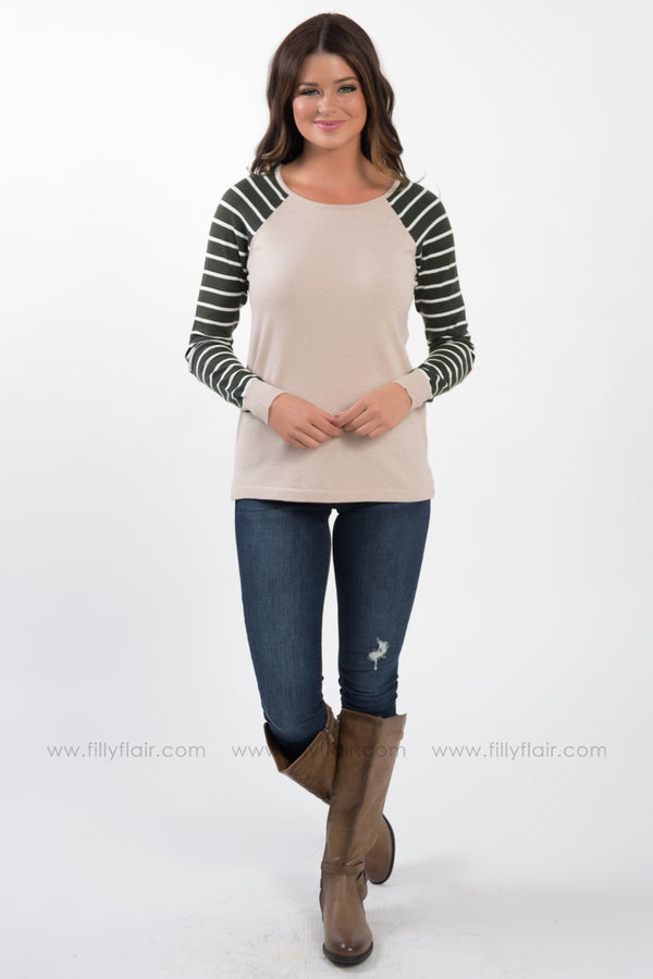 To This Day Striped Elbow Patch Top In Olive Oatmeal - Filly Flair